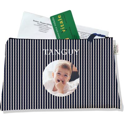 Porte ordonnances personnalisable zippé pour bébé garçon Enfant - photo et texte de votre choix (POZ2133-2015)