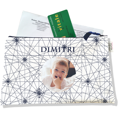 Porte ordonnances personnalisable zippé pour bébé garçon Enfant - photo et texte de votre choix (POZ2137-2015)