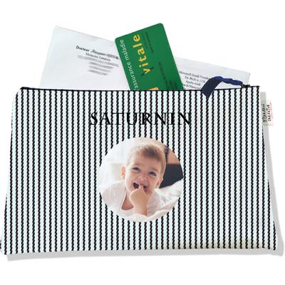 Porte ordonnances personnalisable zippé pour bébé garçon Enfant - photo et texte de votre choix (POZ2139-2015)