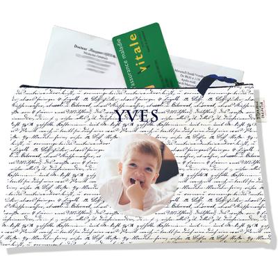Porte ordonnances personnalisable zippé pour bébé garçon Enfant - photo et texte de votre choix (POZ2141-2015)