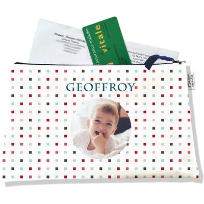 Porte ordonnances personnalisable zippé pour bébé garçon Enfant - photo et texte de votre choix (POZ2149-2015)