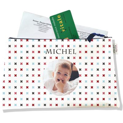 Porte ordonnances personnalisable zippé pour bébé garçon Enfant - photo et texte de votre choix (POZ2150-2015)