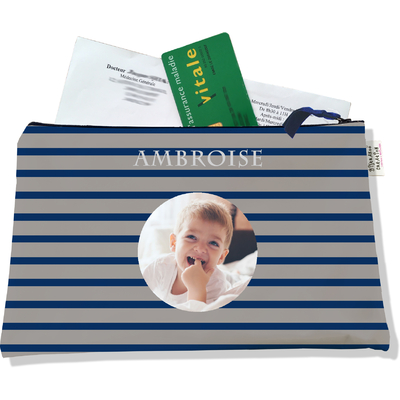 Porte ordonnances personnalisable zippé pour bébé garçon Enfant - photo et texte de votre choix (POZ2172-2015)
