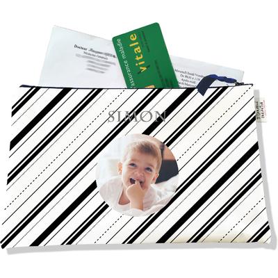 Porte ordonnances personnalisable zippé pour bébé garçon Enfant - photo et texte de votre choix (POZ2504-2015)