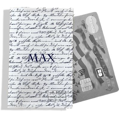 Porte-carte bancaire personnalisé homme Motif Ecriture bleue marine Réf. P2141-2015