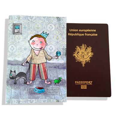 Protège passeport garçon enfant Petit prince et son chat C1109