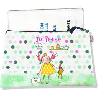 Protège Carnet de Santé personnalisable zippé pour bébé fille motif Docteur j'ai le lapin dicite
