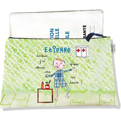 Protège carnet de santé personnalisé zippé pour bébé garçon motif docteur, j'ai attrapé une grippe qui tousse