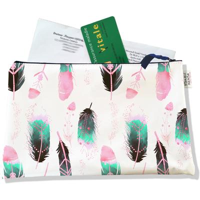 Porte ordonnances zippé pour femme Plumes multicolores 6012-2019