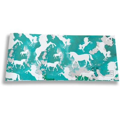 Porte-chéquier long horizontal pour femme Licorne bleu PC6002-2019
