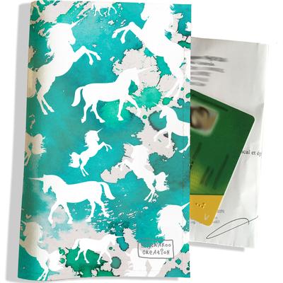 Porte ordonnance et carte vitale Licorne bleu PO6002-2015