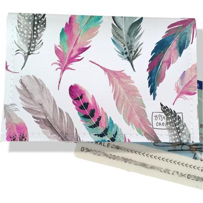 Porte-carte d'identité pour femme Plumes multicolores CI6003-2019