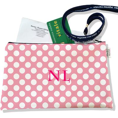 Porte ordonnances personnalisable zippé pour femme Pois