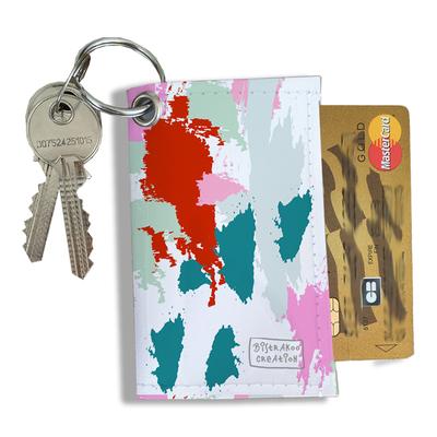 Porte-clés pratique pour cartes & photos femme, Etui porte-clés et cartes Taches Peinture multicolores PCC6001-2019