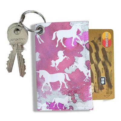 Porte-clés pratique pour cartes & photos femme, Etui porte-clés et cartes Licorne rose PCC6006-2019