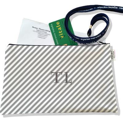 Porte ordonnances personnalisable zippé pour femme Rayures