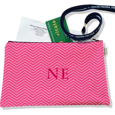 Porte ordonnances personnalisable zippé pour femme Chevrons