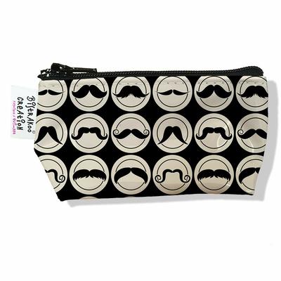 Porte monnaie bourse Moustaches noires et beiges 2154