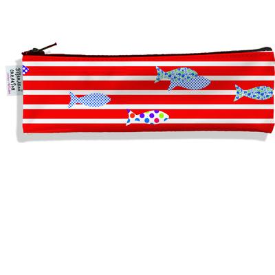 Trousse à brosse à dents Marinière rouge poissons multicolores 2358