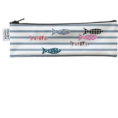 Trousse à brosse à dents marinière grise et poissons multicolores 3271-2017
