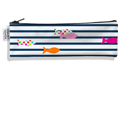 Trousse à brosse à dents Marinière blanche et bleue poissons multicolores 2357