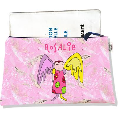 Protège Carnet de Santé personnalisable zippé pour bébé fille motif Ange gardien