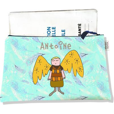 Protège Carnet de Santé personnalisable zippé pour bébé garçon motif Ange gardien