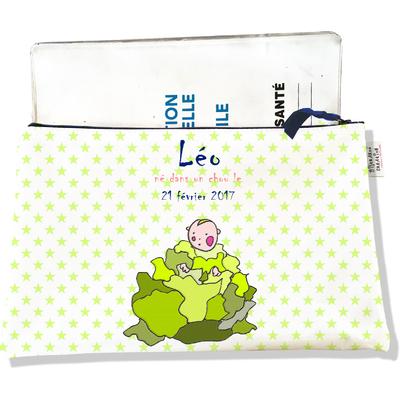 Protège Carnet de Santé personnalisable zippé pour bébé garçon motif Choux