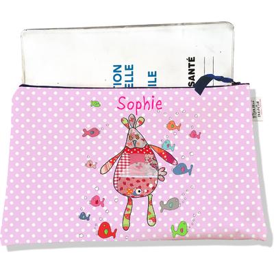 Protège Carnet de Santé personnalisable zippé pour bébé fille motif Doudous aquarium