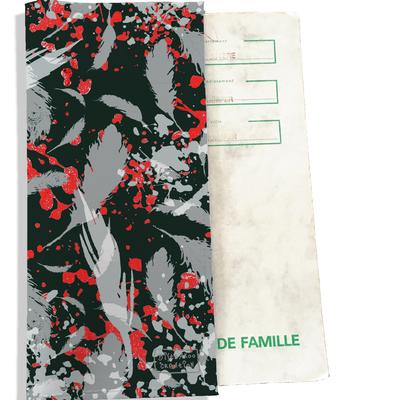 Protège livret de famille Plumes grises LF6025