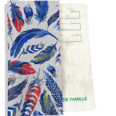 Protège livret de famille Plumes bleues LF6026