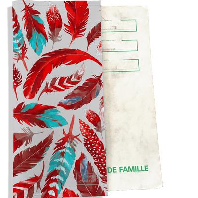 Protège livret de famille Plumes rouges LF6027