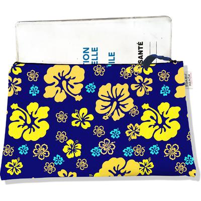 Protège carnet de santé zippé pour femme Hibiscus jaune PCZ5055