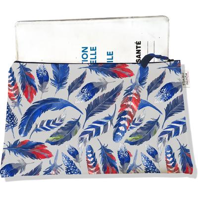 Protège carnet de santé zippé pour femme Plumes bleues PCZ6026