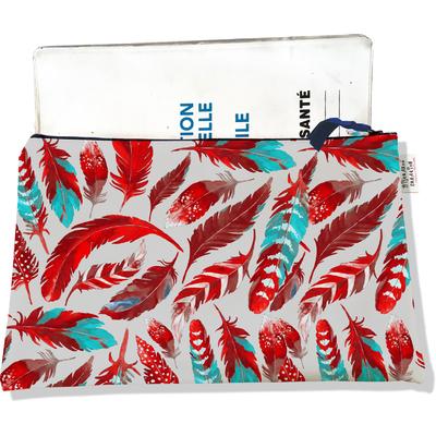 Protège carnet de santé zippé pour femme Plumes rouges PCZ6027