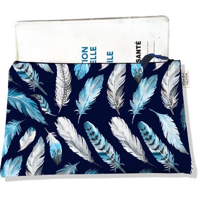 Protège carnet de santé zippé pour femme Plumes grises et bleues PCZ6030