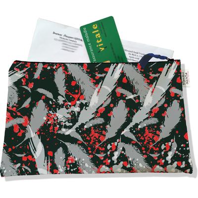 Porte ordonnances zippé pour femme Plumes grises POZ6025