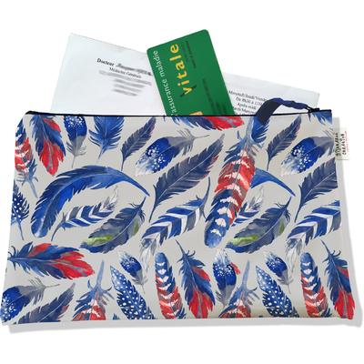 Porte ordonnances zippé pour femme Plumes bleues POZ6026