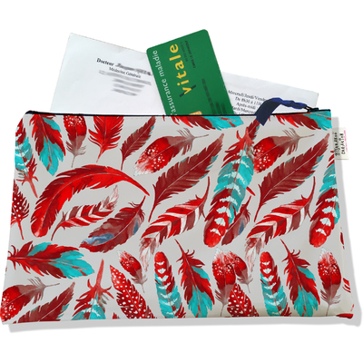 Porte ordonnances zippé pour femme Plumes rouges POZ6027