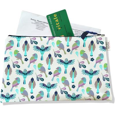 Porte ordonnances zippé pour femme Oiseaux POZ6028
