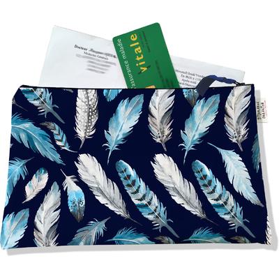 Porte ordonnances zippé pour femme Plumes grises et bleues POZ6030