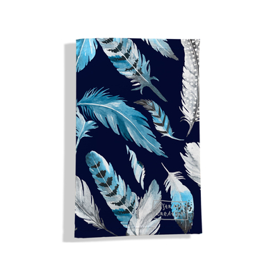 Porte carte grise pour femme Plumes grises et bleues  PCG6030