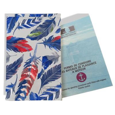 Porte permis bateau pour femme Plumes bleues PPB6026