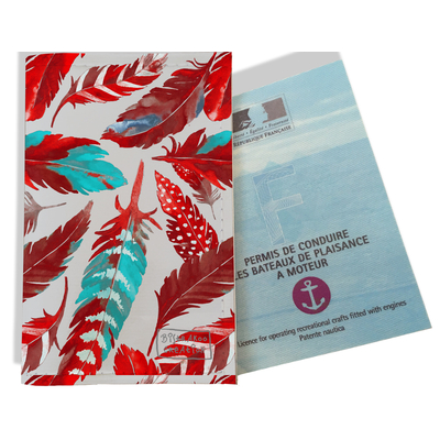 Porte permis bateau pour femme Plumes rouges PPB6027