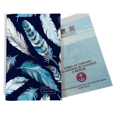 Porte permis bateau pour femme Plumes grises et bleues PPB6030