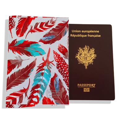 Protège passeport pour femme Plumes rouges PP6027