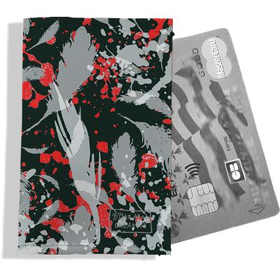 Porte-carte bancaire femme Plumes grises PCB6025