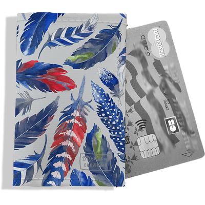 Porte-carte bancaire femme Plumes bleues PCB6026
