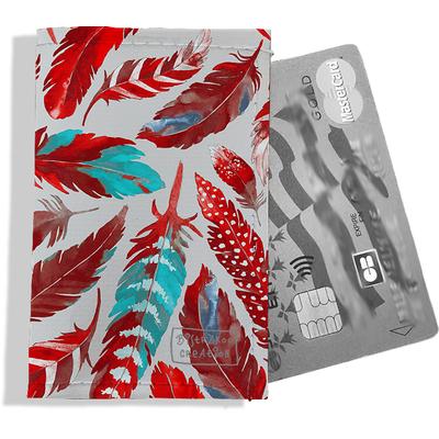 Porte-carte bancaire femme Plumes rouges PCB6027