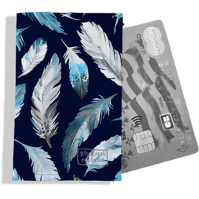 Porte-carte bancaire femme Plumes grises et bleues PCB6030